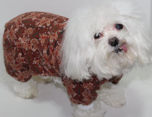 Holiday Dog Pajamas, XS S Med Gingerbread man dog onesie pajamas, designer dogs clothes