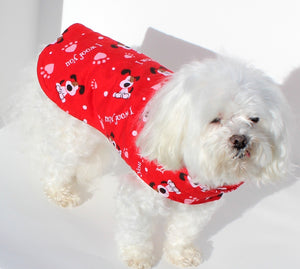 Dog Shirt Wrap, XS and S, Red LOVE Print, shirts for dogs, fashion designer