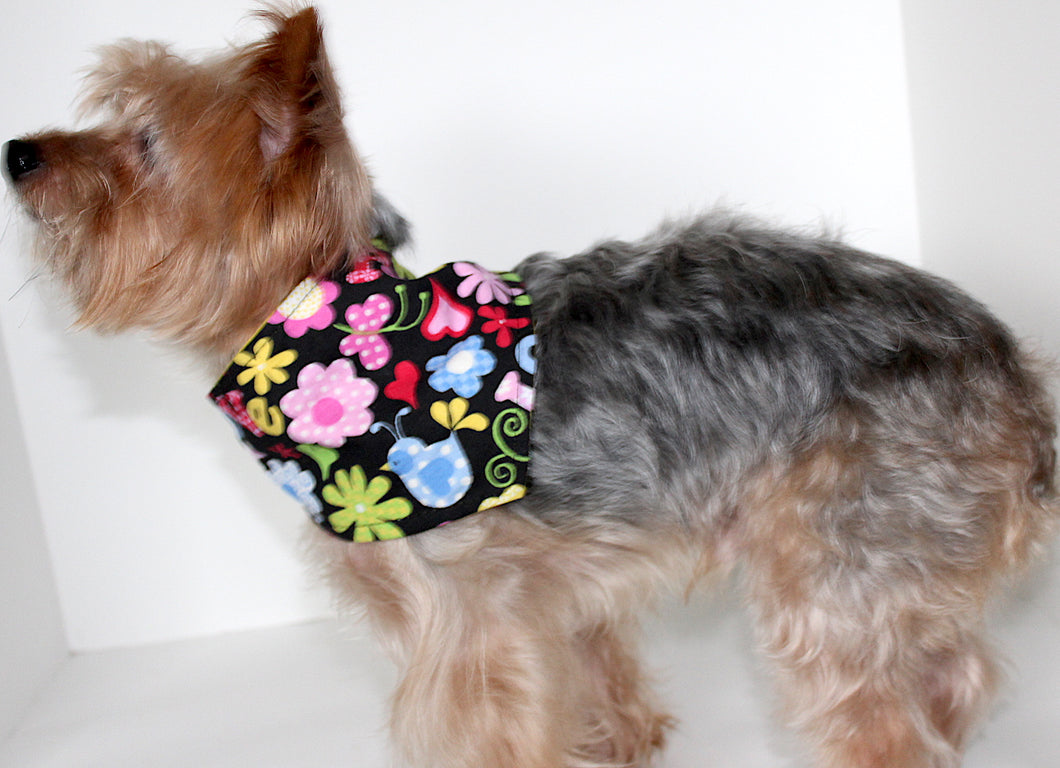 Dog Bandana, Peace Love, Floral Multi Color Dogs Bandanas Scarf