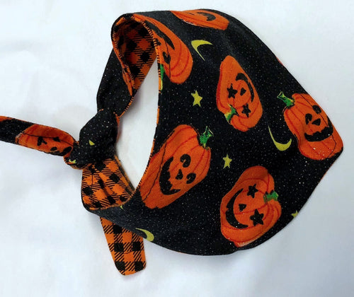 Halloween Dog Bandana, Reversible Orange Plaid and Jack O Lanterns Black Glitter