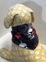 Load image into Gallery viewer, Skull Dog Bandana, skulls candles on black cotton bandanas for dogs