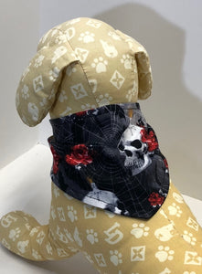 Skull Dog Bandana, skulls candles on black cotton bandanas for dogs