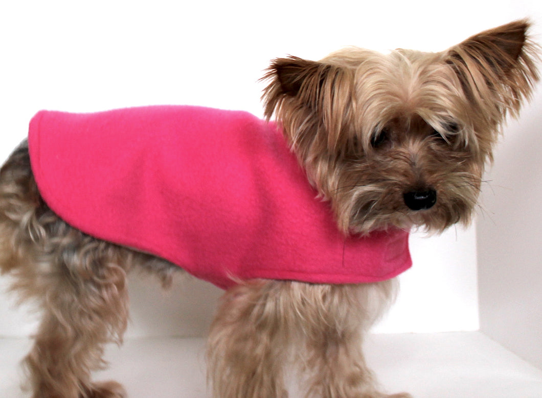 Pink Dog Sweater Coat Wrap, Warm Fleece reversible dog clothing
