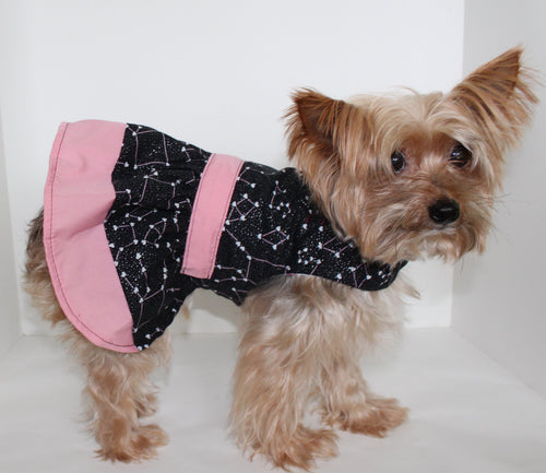 Dog Dress, Black Pink Constellation LOVE dogs dresses