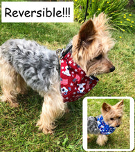 Load image into Gallery viewer, Patriotic Cute Dog Bandana, Cartoon Dogs Reversible Red Blue Americana Bandanas Dogs
