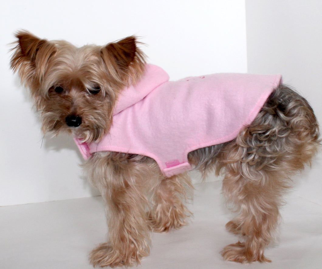Cupid Dog Hoodie, Embroidered Pink Fleece Dogs Coat Jacket