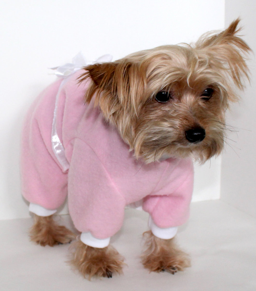 Pink Dog Pajama Onesie, Pretty Pink White Bow Fleece Onesies for Dogs