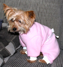 Load image into Gallery viewer, Pink Dog Pajama Onesie, Pretty Pink White Bow Fleece Onesies for Dogs