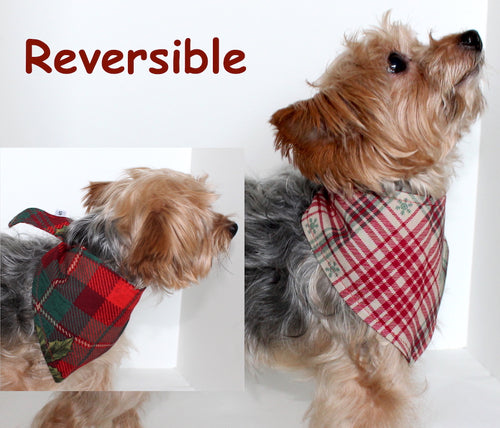 Christmas Dog Bandana, Reversible Holiday Bandanas Dogs