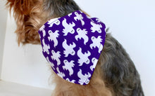 Load image into Gallery viewer, Halloween Dog Bandana, S and M Reversible tie-on dog purple bandanas white ghosts black bats