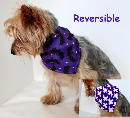 Halloween Dog Bandana, S and M Reversible tie-on dog purple bandanas white ghosts black bats