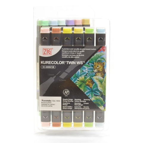 ZIG Kurecolor Twin Tipped alcohol based graphic marker set
