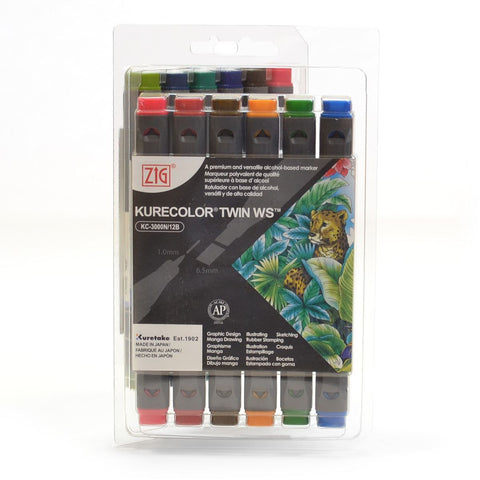 ZIG Kurecolor twin tipped alcohol graphic marker set KC-3000N/12B6