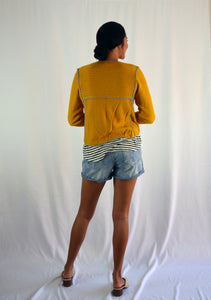 Mustard Stripe Trim Jacket