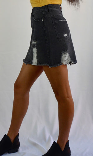 Distressed Black Denim Skirt