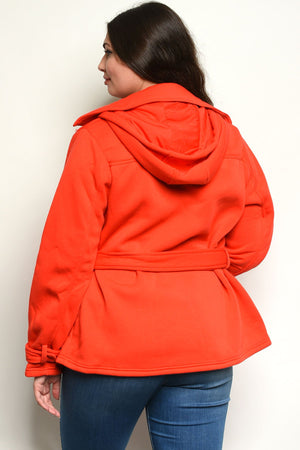 Red Waist-Length Pea Coat - All Yoga Pants