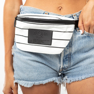 Pinstripe Mini Hip Pack Black on White