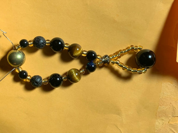 Shiny Gold Header, tiger's eye, and basalt withgolden spacers - myquietcomfort