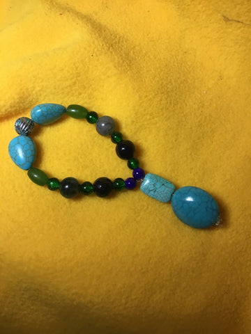 Turquoise Howlite, quartz, glass  and turquoise tale - myquietcomfort