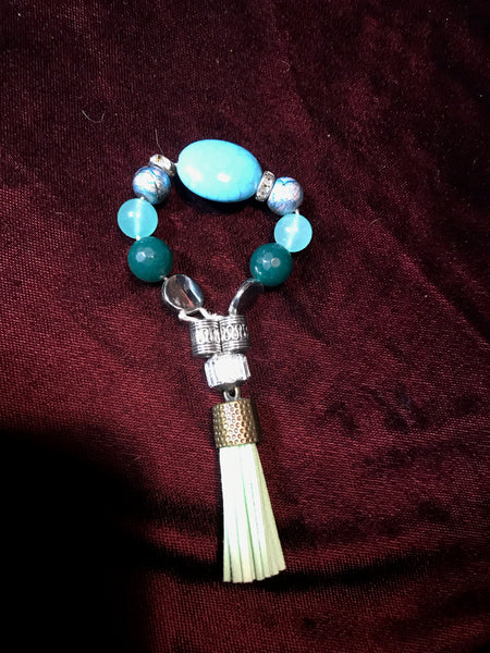 Turquoise header , mint green wings and silver flourish