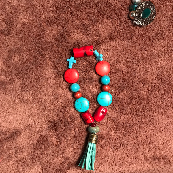 Red Header , turquoise and tiny turquoise crosses - myquietcomfort