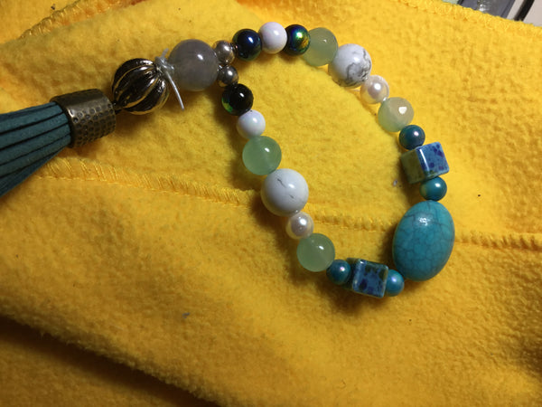 Turquoise Headers and  cool blue glass square beads, howlite, black iridescent, metal dipped ender - myquietcomfort