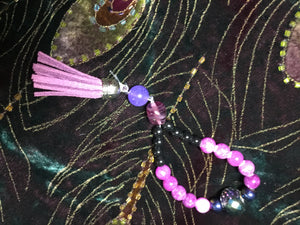 Crystal header, with delicate purple, pearl and black glass - myquietcomfort