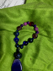 Cobalt Blue, purple acrylic beads with blue tail