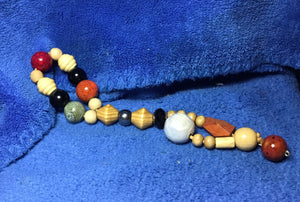 Two Red Ceramic beads, wood and molten white - myquietcomfort