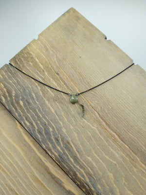 Green Cats Eye Center Bead Necklace on Oxidized Silver