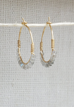 Labradorite Mini Beaded Hoops