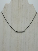 Black Spinel Beaded Bar Necklace on Oxidized Sterling Silver