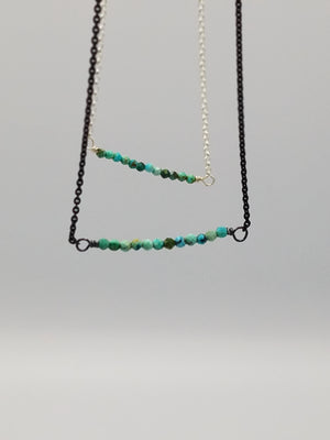 Natural Turquoise Beaded Bar Necklace With Oxidized Silver