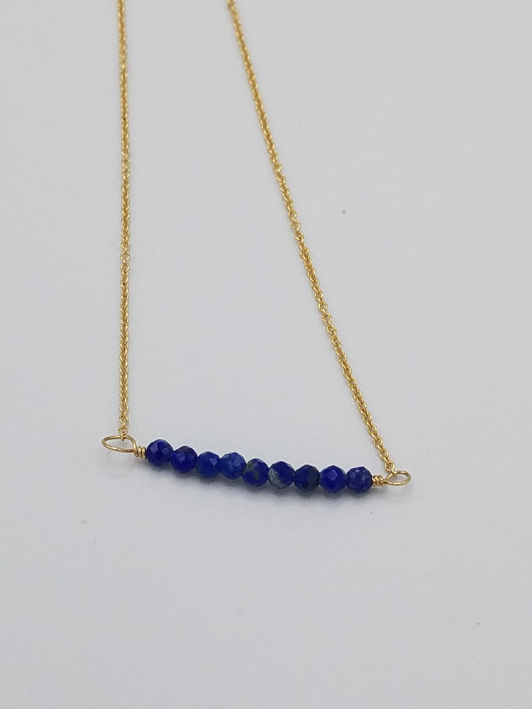 Lapis Beaded Bar Necklace