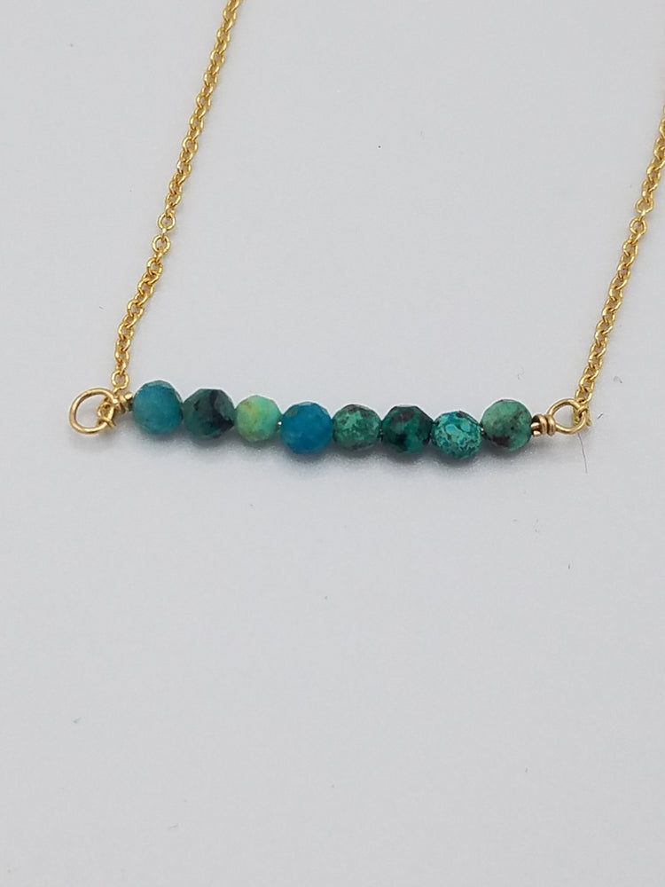Chrysocolla Beaded Bar Necklace on Gold