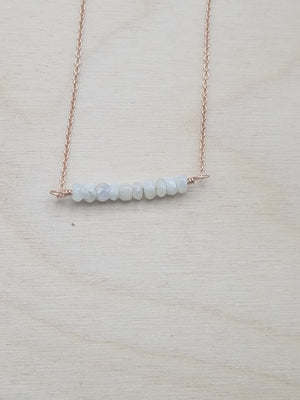 Silverite Beaded Bar Necklace on Rose Gold