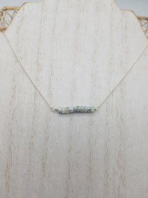 Corundum Beaded Bar Necklace on Silver