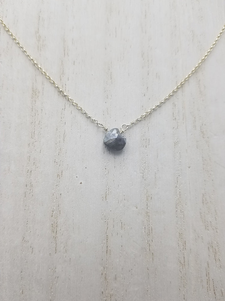 Grey Moonstone Center Bead Necklace on Silver