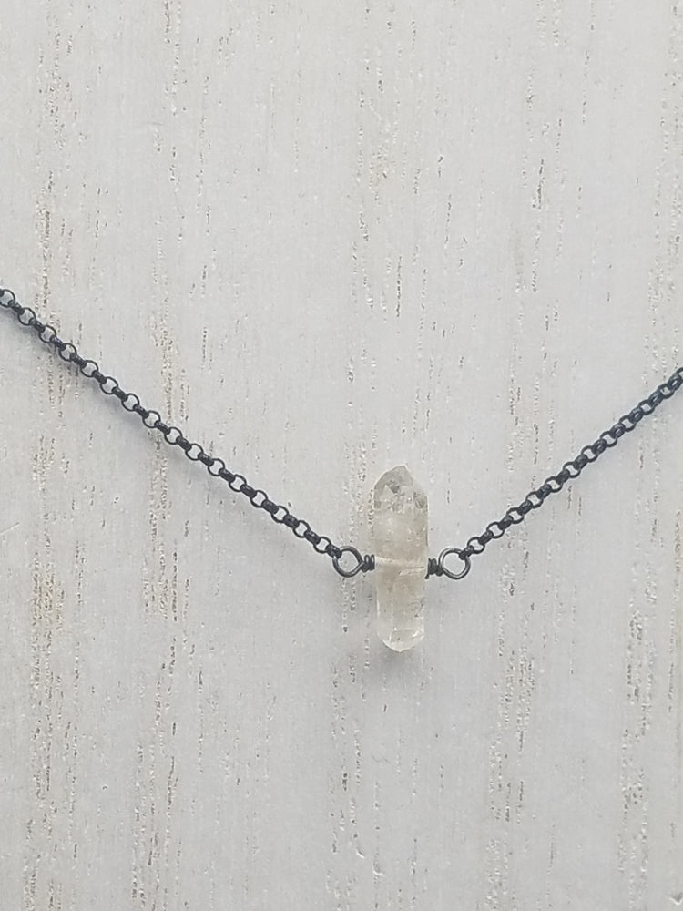Herkimer Diamond Lucy Necklace on Oxidized Silver