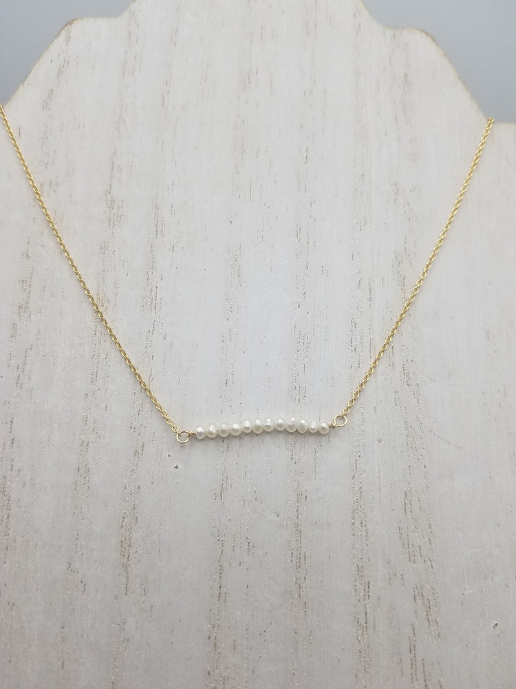 Seed Pearl Beaded Bar Necklace