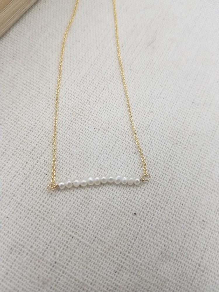 Seed Pearl Beaded Bar Necklace on Gold