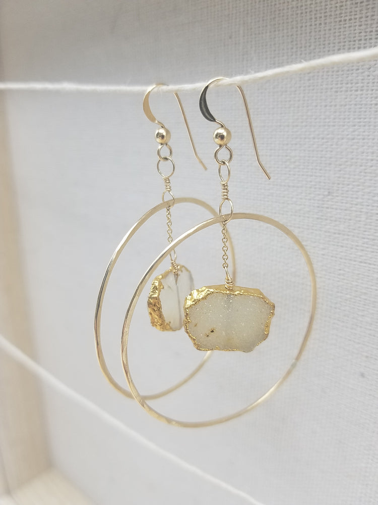 Druzy Large Hoop Charm Earrings