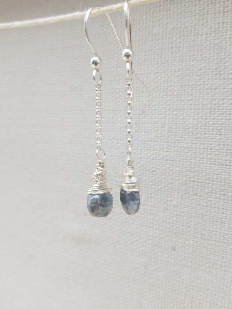 Grey Moonstone Drop Earrings