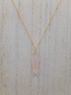 Rose Quartz Drop Necklace