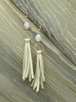 White Leather Fringe Earrings with Silverite