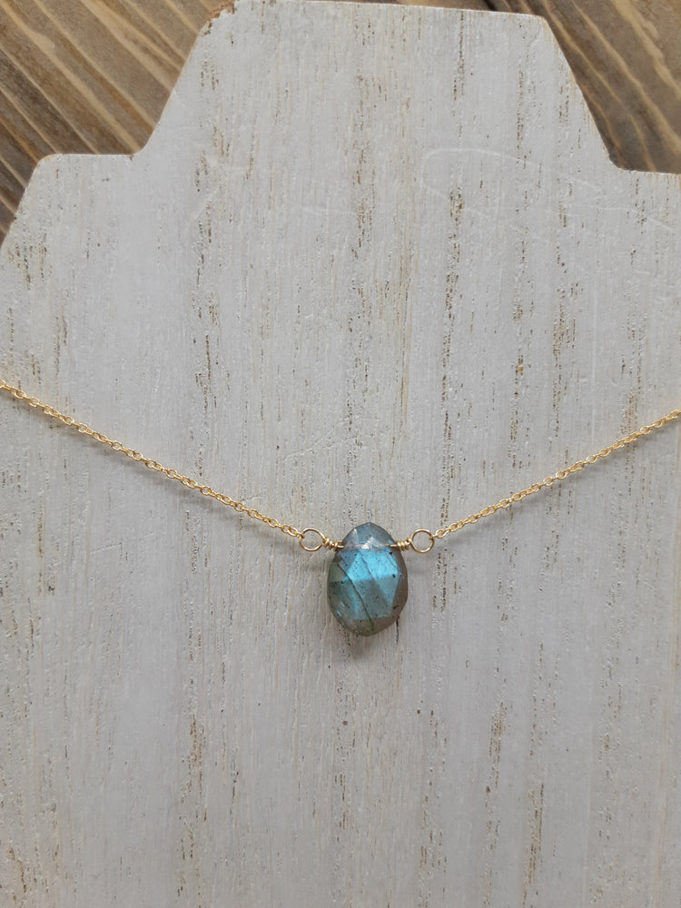 Labradorite Center Bead Necklace