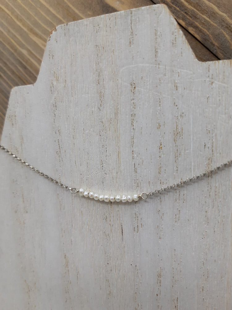 Seed Pearl Beaded Bar Sterling Necklace on Silver