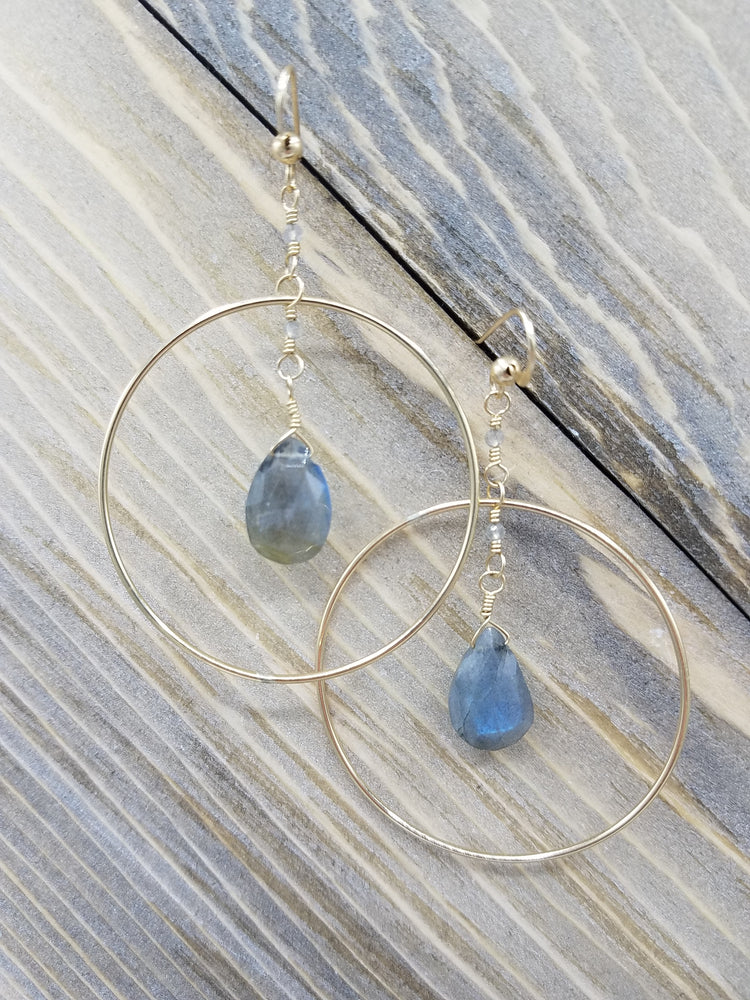 Labradorite Drop Hoops