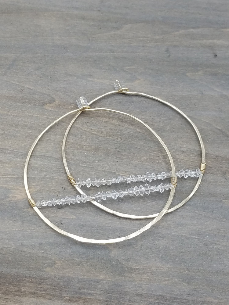 Herkimer Diamond Beaded Hoop Earrings