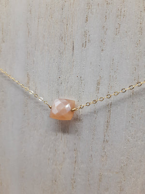 Peach Moonstone Center Bead Choker on Gold